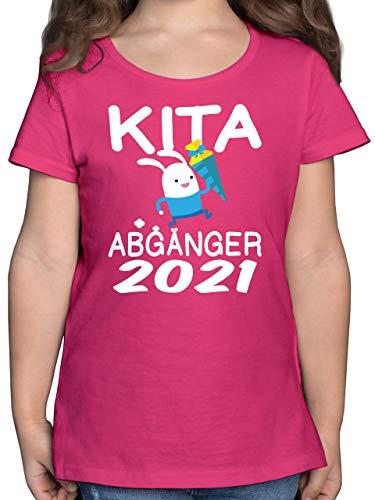 Einschulung und Schulanfang - Kita Abgänger 2021 rennender Hase mit Schultüte - 128 (7/8 Jahre) - Fuchsia - Hasen Shirt 104 - F131K - Mädchen Kinder T-Shirt