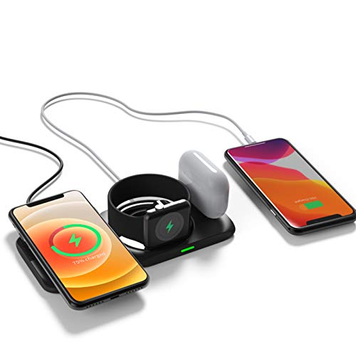 Aimtel Wireless Charger,4 in 1 Magnetic Charging Station for Apple Products Magsafe Charger Stand for iPhone 12/Pro/Pro Max/Mini/11 X XS XR,Apple Watch Airpods Pro/Airpod Multiple Devices Charging Pad