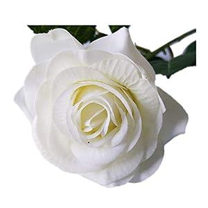 Diamoen Paño Artificial Rosa Blanca Solo Tallo Simulación de la Boda Ramo de Flores arreglos Decoración