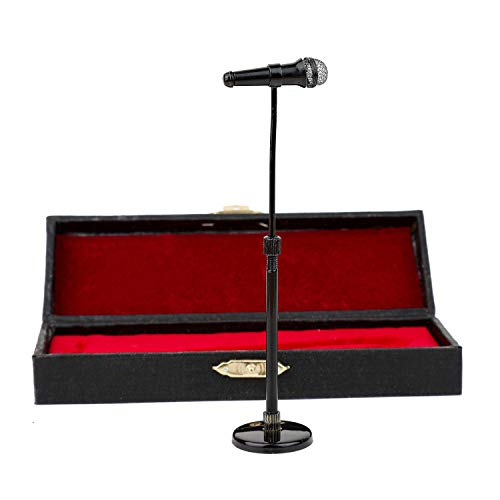 8-13cm Adjustable Miniature Microphone Mini Musical Instrument Mini Replica Model for 1:12 Action Figures Dollhouse Accessories Display Ornaments Home decoration (Black, (adjustable) 3.15-5.12)