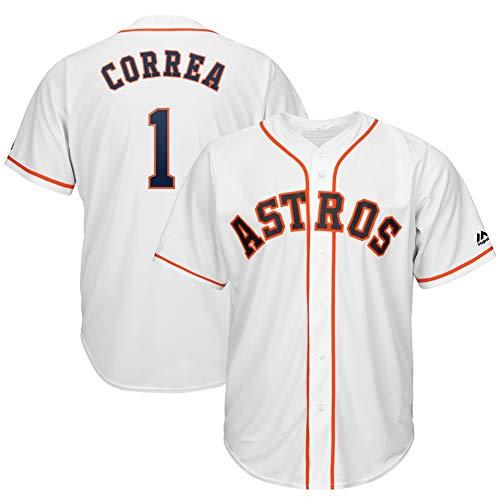 YHDQ Baseball Uniform Astros #1 Correa (weiß, rot, blau) weich bequem, weich und schweißfest, holz, weiß, Large
