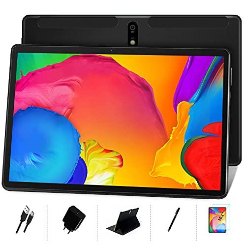 MEBERRY Tablet 10 Pollici Android 10 OS: 8 core 1.6 GHz Ultra-Veloce Tablets PC 4GB + 64GB, Supporta DAD|128 GB Espandibile| Doppia Fotocamera(5MP+8MP)| 8000mAh| Solo WiFi| GPS| Google GMS, Nero