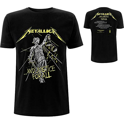 Metallica and Justice For All Tracks_Men_bl_TS: M Camiseta, Negro (Black Black), Medium para Hombre