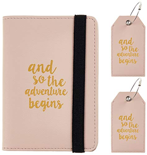 Casmonal Passport Holder Cover Wallet RFID Blocking Leather Card Case Travel Document Organizer(Napa Pink Champagne with 2 Tags)