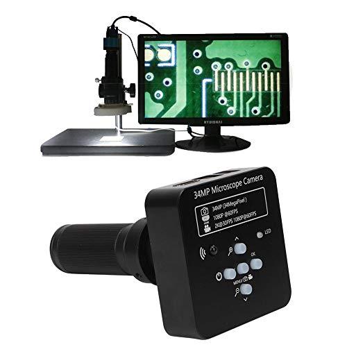 USB Microscope Camera, 34mp 120x Lens Electron Microscope HDMI USB Industrial Digital Microscope Camera for Microelectronics Jewelry Teaching Laboratory(US)