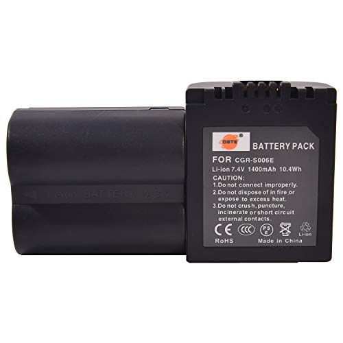 DSTE 2-Pack Ersatz Batterie Akku for Panasonic CGR-S006E CGR-S006A1B CGA-S006 Lumix DMC-FZ30 DMC-FZ50 DMC-FZ28 DMC-FZ18 DMC-FZ8 DMC-FZ38 DMC-FZ35 DMC-FZ7 LEICA V-LUX1 Kamera