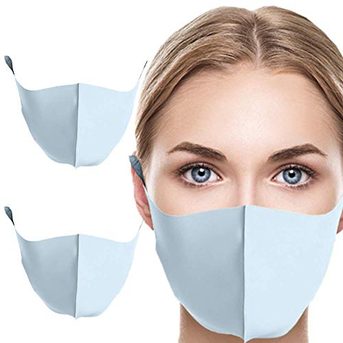 MASKGUARD Kpop Fashion Cloth Face Mask - Reusable Mouth Cover Anti Dust, Great for Outdoors, Airplanes, Travel, Sun Protection, Home and Beauty (2PCS Sky Blue)