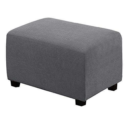 Ottoman Slipcovers Rectangle Gray Footrest Sofa Slipcovers Footstool Protector Covers Stretch Fabric Storage Ottoman Covers, High Spandex Slipcover Machine Washable, Ottoman Large Size