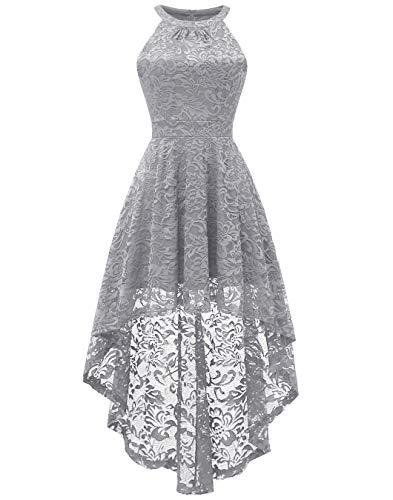 BeryLove Damen Vokuhila Cocktail Kleid Elegant Halter Spitzenkleid Brautjungfern Blumenmuster BLP7028GreyXS