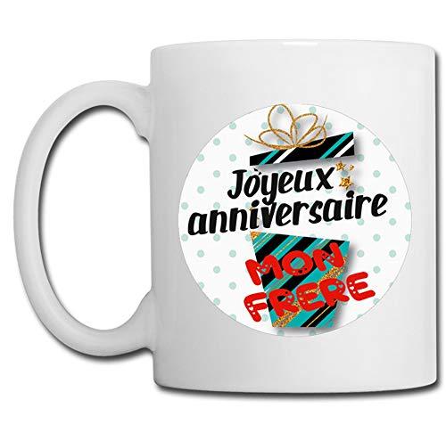 Linyatingoshop - Tazza con scritta 'Joyeux Anniversaire', con scritta in francese 'Mon Brother', regalo di compleanno