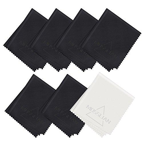 MOSSLIAN Brillenputztuch Mikrofaser Reinigungstücher guter schutz und Reinigung von Brille, macbook, laptop, Bildschirmen, Notebook, Handy(6 Schwarz+1grau (6 * 7