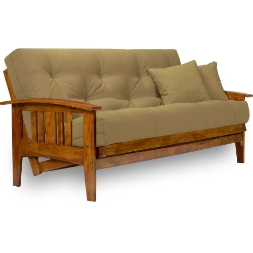 Nirvana Futons Westfield Futon Set with Microfiber Sussex Khaki Mattress Included - Full Size, Heavy Duty Solid Wood, Easily Converts into a Bed