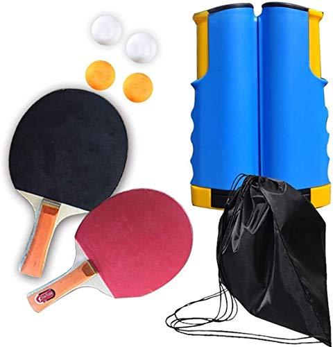 Find Discount Zyyqt Ping Pong Paddle Set,2 Table Tennis Bats 4 Ping Pong Balls 1 Retractable Table T...