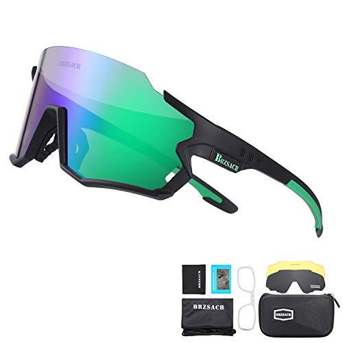BRZSACR Bicycle Polarized Sunglasses Cycling Sunglasses Polarized Sports Sunglasses 3 Interchangeable Lenses Men Women Cycling Running Driving Fishing Golf Baseball Bike Glasses.