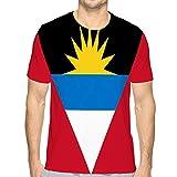 Mens Short Sleeve Tee Quick-Dry Crewneck Athletic T-Shirts Flag Antigua Barbuda ai aviable red White Black un Yellow Blue Stripes Caribbean Flag Antigua Barbuda