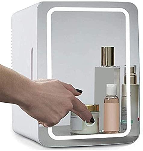 YAYY Belleza Mini Frigorífico/Cosmética portátil Refrigerador de refrigerador Panel de Vidrio + LED Iluminación con Ajuste Caliente y frío Utilizado para Maquillaje y Cuidado de la Piel también se p