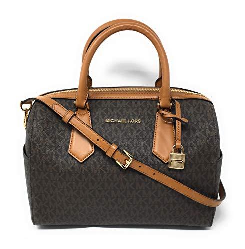 Michael Kors Hayes Large Duffle Satchel Bag (Brown PVC)