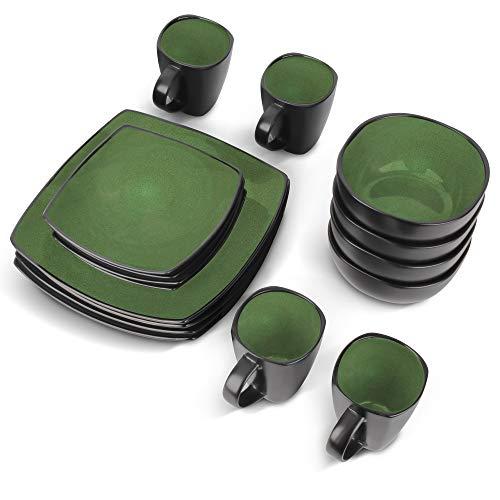 MIAMIO - 16 piezas Vajilla Completa/Juego de Vajilla (4 tazas, 4 tazones, 4 platos grandes, 4 platos pequeños) (Verde)