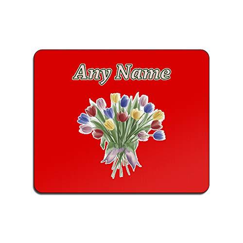 UNIGIFT gepersonaliseerd cadeau - kleur tulp muis mat (natuur planten ontwerp thema, kleur opties) - elke naam/bericht op uw unieke - pad muismat muismat - lente tulipa