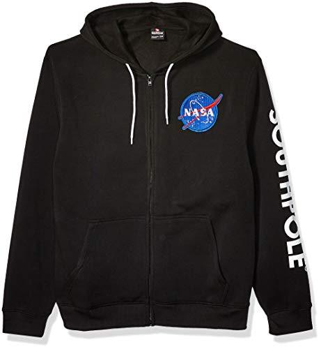 Southpole Men's Big and Tall NASA Collection Fleece Hoody Sweatshirt, Black Full Zip, 5XB