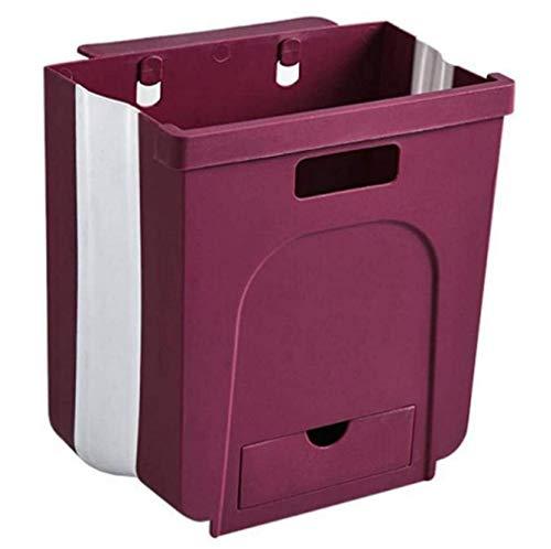 JMGoodstore Cubos Plegable Colgando para la Cocina,Plegable Cubo Basura Extraible pequeño y Compacto Contenedor Organizador Armario Cocina (Rojo)