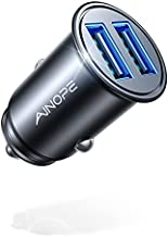 Car Charger, AINOPE 4.8A All Metal Car Charger Adapter Mini Flush Fit USB Car Charger Dual Port Charging Compatible with iPhone 12/11 pro/XR/x/7/6s, iPad Air 2/Mini 3, Note 9/Galaxy S10/S9/S8-Black