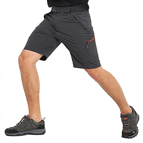 MIER Men's Stretch Hiking Shorts Quick Dry Nylon Cargo Shorts with Zipper Pockets, Water Resistant, Graphite Grey, 32