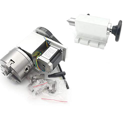 RATTMMOTOR CNC Router Axis 4. Achse Rotary K11-100mm 3 Backenfutter Chuck Teilkopf mit 65mm Reitstock CNC Rotationsachse 4th-Achsen für Graviermaschine Fräsmaschine