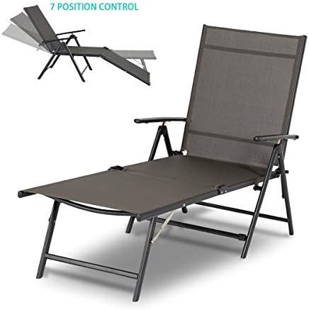 Best Esright Outdoor Chaise Lounge Chair, Folding Textiline Reclining Lounge Chair for Beach Yard Pool Pa