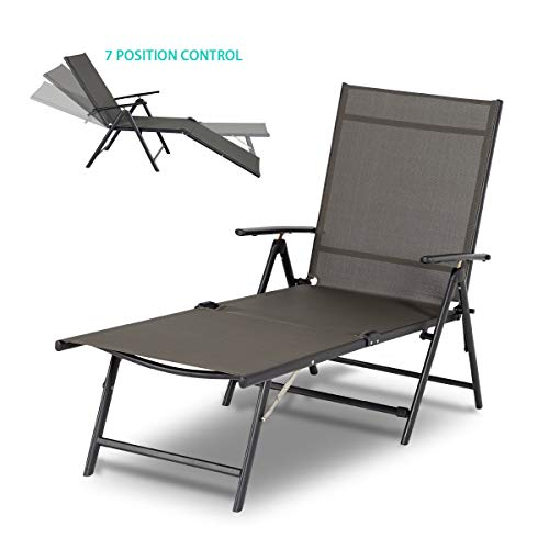 Esright Outdoor Chaise Lounge Chair, Folding Textiline Reclining Lounge Chair for Beach Yard Pool Patio with 7 Back & 2 Leg Adjustable Positions (Gray)