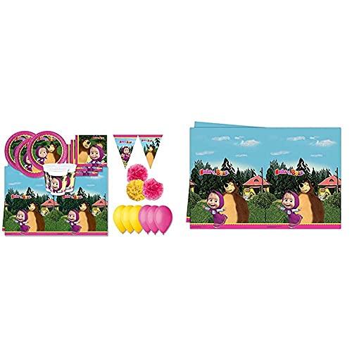 Procos Kit N 46 Coordinato Compleanno Masha E Orso & 86515 Tovaglia Plastica Masha E Orso 120X180 Cm
