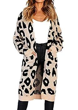 BTFBM Women Long Sleeve Open Front Leopard Knit Long Cardigan Casual Print Knitted Maxi Sweater Coat Outwear with Pockets  Khaki Medium