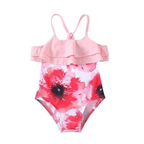 Julhold Traje de baño para niñas recién nacidas traje de baño floral volantes playa cruz espalda 1 pieza mamelucos verano traje de baño protección traje de baño
