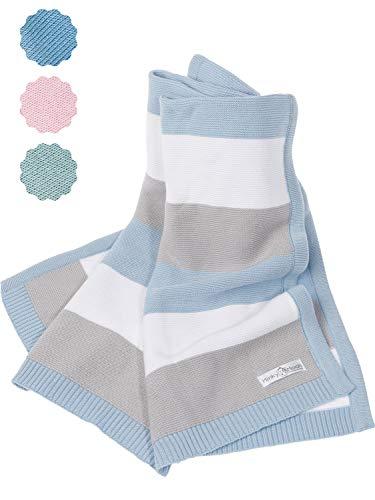Babydecke aus 100% Bio Baumwolle - kuschelige Strickdecke ideal als Baby Decke, Erstlingsdecke, Wolldecke oder Baby Kuscheldecke in blau/grau/weiß für Jungen -inkl. Online Geburtsvorbereitungskurs…