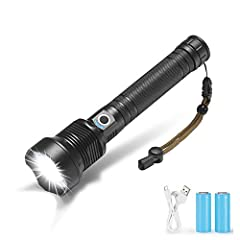 Powerful led flashlight use XLamp XHP70.2 LED for a maximum output of up to 120000 lumens. 26650 rechargeable battery compartment to make the working time longer. Battery capacity display, telescopic zoom Micro usb for computer USB, car USB, USB char...
