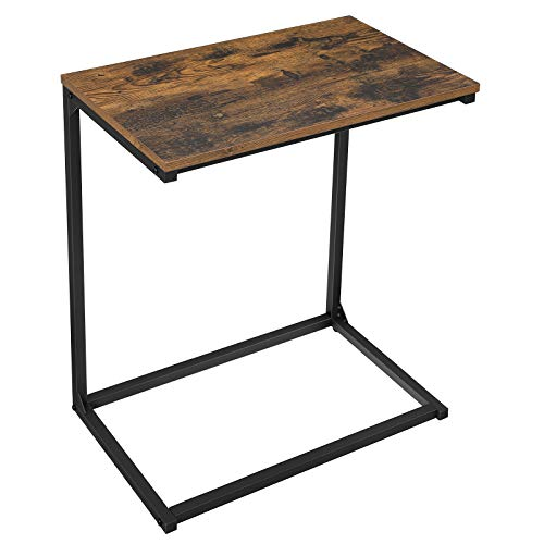 VASAGLE Side Table, Small Sofa Table, End Table, Laptop Table, for Bedroom, Living Room, Work in Bed or on The Sofa, Simple Structure, Stable, Industrial Style, Rustic Brown and Black LNT52BX
