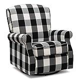 Delta Children Oakley Nursery Glider Swivel Rocker Chair, Black Plaid