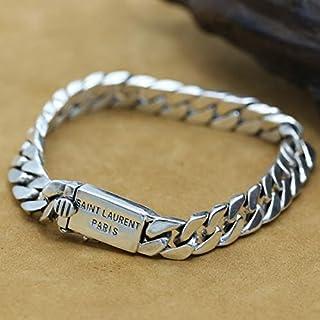 WZZNB Men'S Sterling Silver Bangles Sterling Silver Bracelet Men's Advanced Curb Chain Bracelet Men's Vintage Punk Rock Bi...
