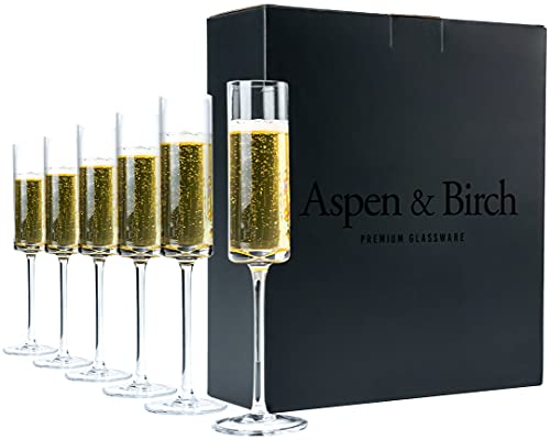 Aspen & Birch - Modern Champagne Flutes Set of 6 - Champagne Glasses - Mimosa Glasses, 100% Lead Free Crystal Stemware, Clear, 6 oz, Hand Blown Glass Champagne Flutes - Hand Crafted by Artisans