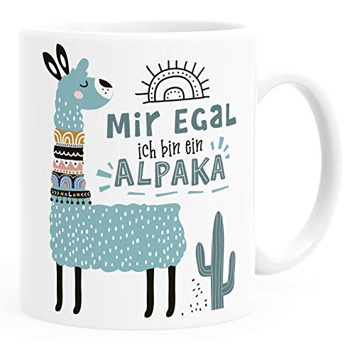 SpecialMe® Kaffeetasse Spruch Mir egal ich bin ein Alpaka - Alpaka-Motiv Lama Geschenk Alpaka-Liebhaber Bürotasse Türkis weiß Keramik-Tasse