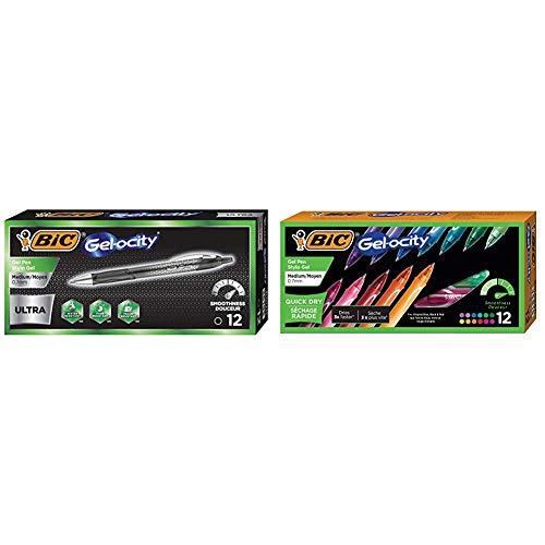 BIC Gel-Ocity Ultra Gel Pens, Medium Point Retracable (0.7mm), Black Ink Gel Pen, 12-Count & Gel-Ocity Quick Dry Gel Pens, Medium Point Retractable Gel Pen (0.7mm), Assorted Colors, 12-Count