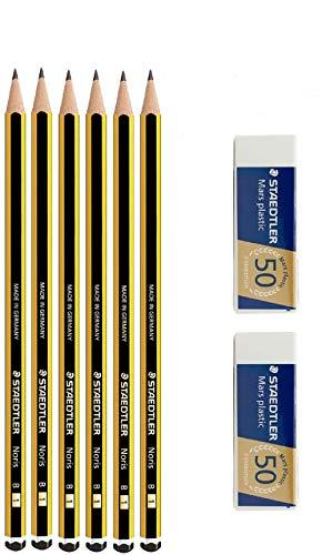 Staedtler Noris 120 B – Lot de 6 crayons en graffiti + 2 gommes à effacer Mars plastic Staedtler