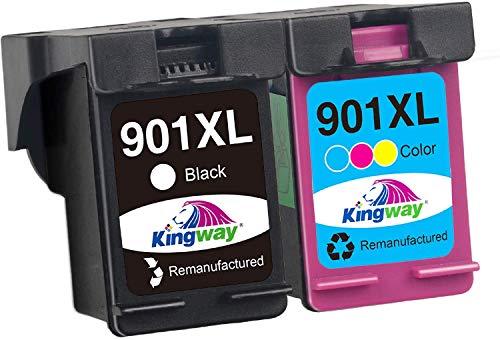Kingway Wiederaufbereitet 901XL Druckerpatronen Ersatz für HP 901XL 901 Tintenpatronen für HP Officejet 4500 J4580 J4680 J4500 G510G G510A G510N J4524 J4525 J4540 (1 Schwarz,1 Farbe)