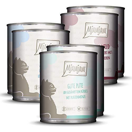 MjAMjAM - Premium Nassfutter für Katzen - Mixpaket 2 - Wild & Kaninchen, Pute, Ente & Geflügel, 6er Pack (6 x 800 g), getreidefrei mit extra viel Fleisch