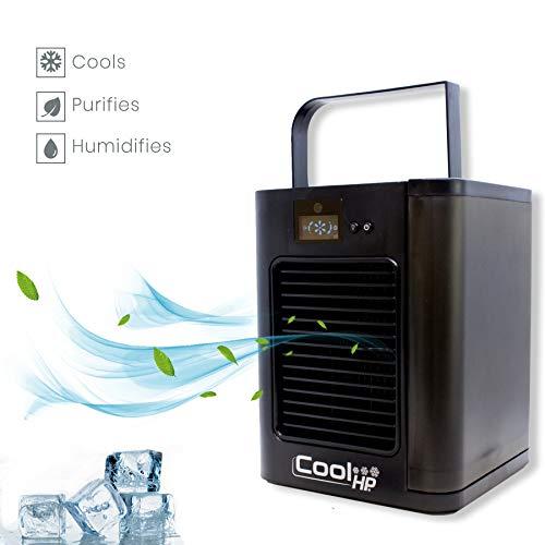 BEST DIRECT Cool HP Visto en TV Mini Acondicionador de Aire Fresco Ventilador de 3 velocidades Filtro de Aire Humidificador con Tanque de Agua 500ml para Hogar/Oficina/Camping