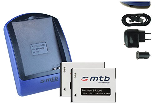 2 Baterìas + Cargador (USB/Coche/Corriente) BP2000 para Samsung Galaxy Camera 2 (EK-GC200)