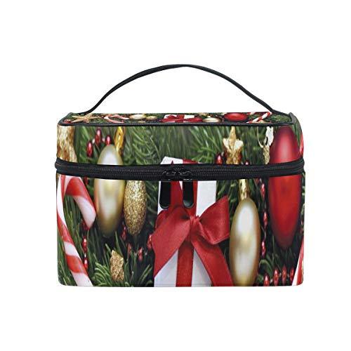 Maquillage sac décoration de noël vieux bois sac cosmétique portable grand trousse de toilette pour femmes/filles voyage