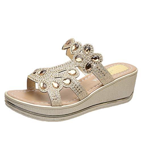 ciabatte sposa tacco suole scarp donna ciabatte sanitarie donna pantofol sandali platform donna ciabatte donna casa estive scarp legger (L48-Gold,38)