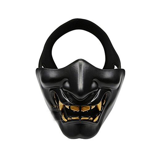 Máscara facial HalloweenHalf para a parte inferior da face para Airsoft Paintball BB Gun CS Game Hunting Máscara ideal para Halloween Cosplay Festa e Filme (Preta)