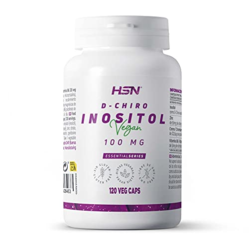 D-Chiro Inositol de HSN   100mg   Alta Concentración y Máxima Biodisponibilidad   Con Zinc + Picolinato de Cromo + B6   No-GMO, Vegano, Sin Gluten, Sin Lactosa   120 Cápsulas Vegetales